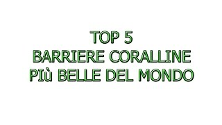 TOP 5 barriere coralline più belle del mondo! (prima parte)