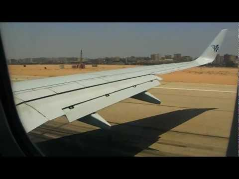 Egypt Air 737-800 take off from Cairo international air port to Munich air port.AVI