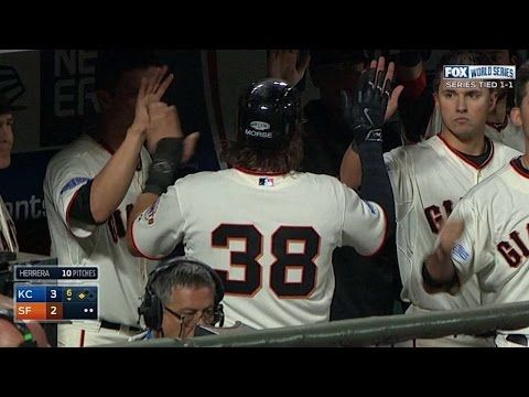 WS2014 Gm3: Posey grounds out to score Morse in 6th