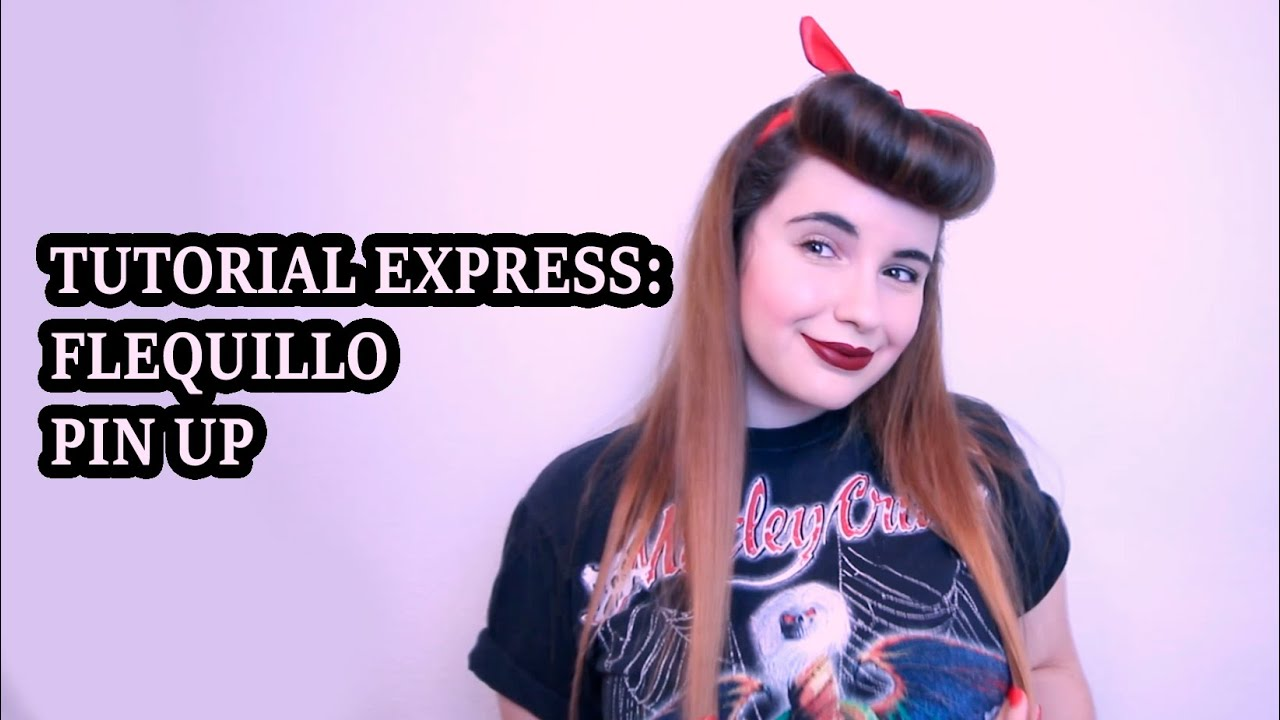 TUTORIAL EXPRESS Flequillo pinup pelo liso YouTube