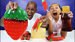 Real Food Vs Gummy Food! Gross Giant Candy Challenge - Best Chef Mommy Vs Jordon Edition
