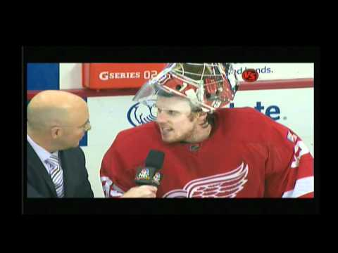 Jimmy Howard's Post Game interview with Pierre McGuire Dec 27 2011