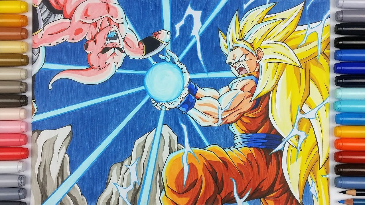 drawing goku ssj3 vs kid buu kamehameha tolgart youtube