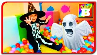 Skeleton on playground.  Halloween party on Bogdan`s Show.