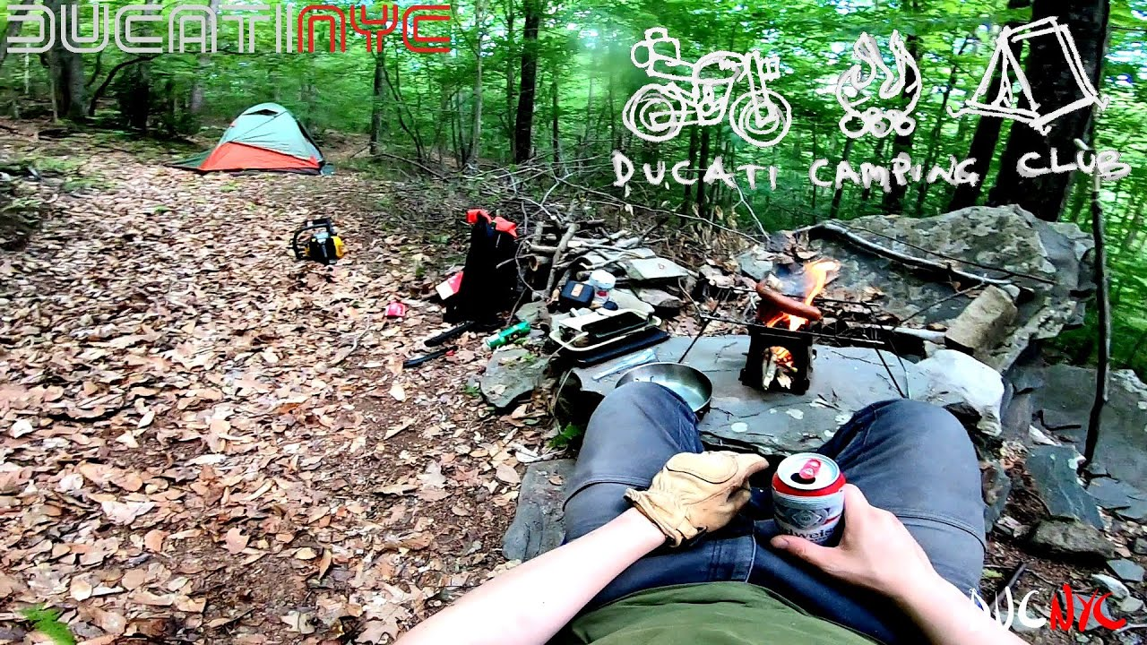 überleben and pork sausage - Solo Ducati Moto Camping in the Catskills, Forest ASMR v1269