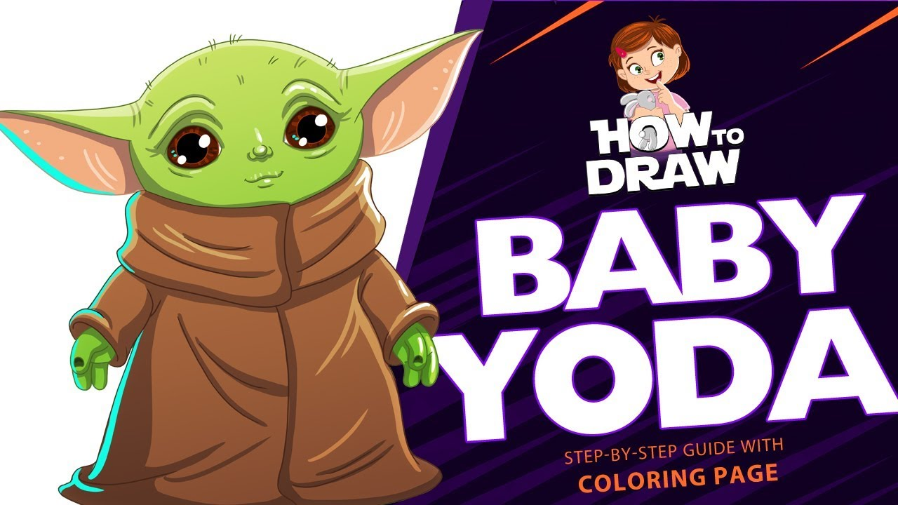 How To Draw Baby Yoda Star Wars The Mandalorian Super Easy Drawing Tutorial With Coloring Page Youtube