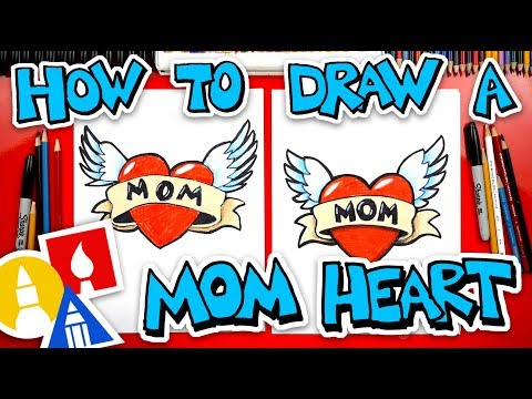 How To Draw A Heart With Wings For Mom