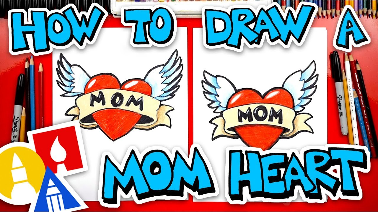 How To Draw A Heart With Wings For Mom Youtube