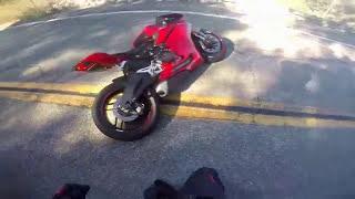 Ducati 959 crash low sided