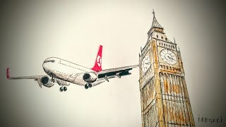 Boeing 737 in London  (Timelapse drawing)