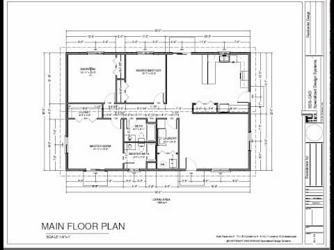 h74 Ranch House Plans 1600 SQ FT Slab 3bdrm 2 bth YouTube – Slab House Floor Plans