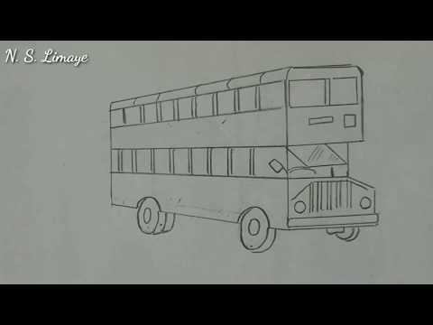 How To Draw A Double Decker Bus |  Step By Step In Easy Way  |  For Beginners | By N S Limaye's Art
