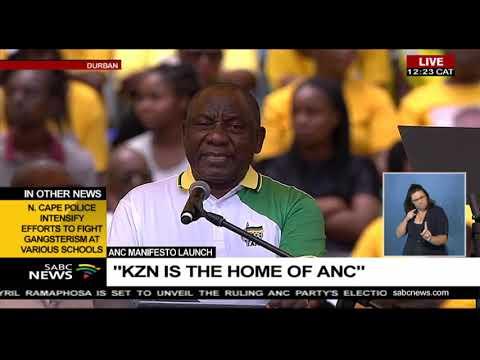 ANC President Ramaphosa speech for ANC 2019 manifesto launch