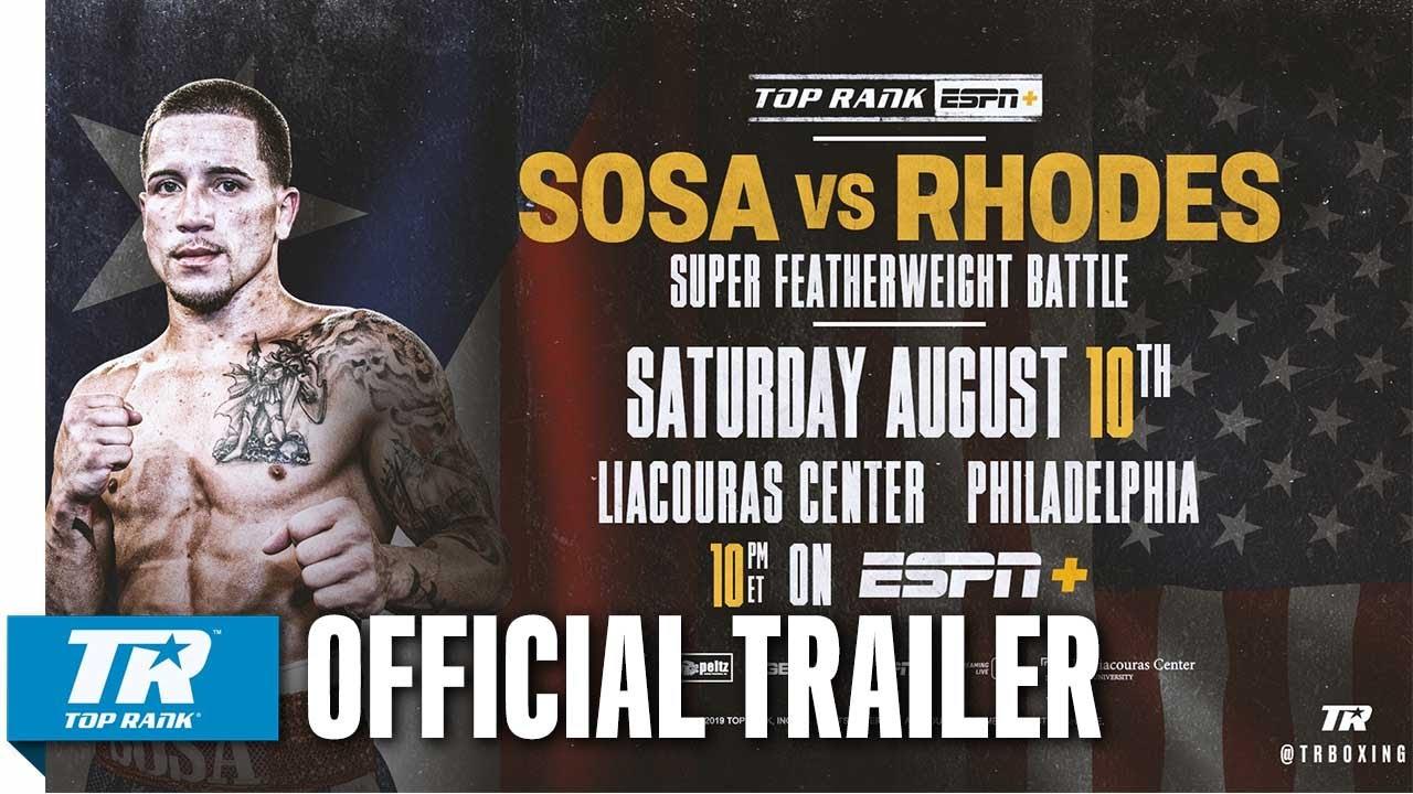 Sosa-Rhodes Headlines Philly Fight Night Saturday on ESPN+