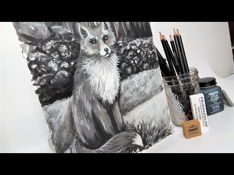 drawing-a-fox-with-pencil,-ink-and-pastel!