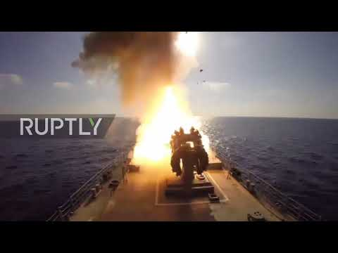 Mediterranean Sea: Russian frigate fires Kalibr missiles at IS positions in battle for Deir ez-Zor