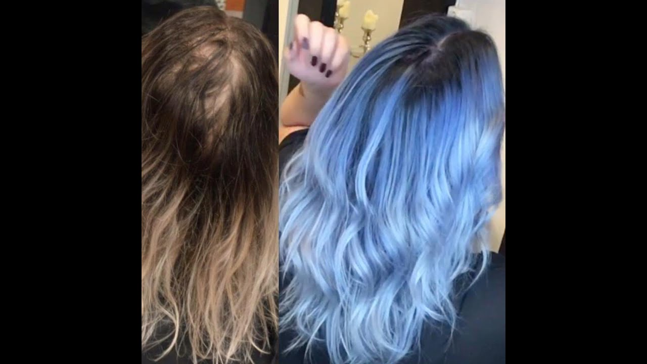Pastel blue hair tutorial - YouTube