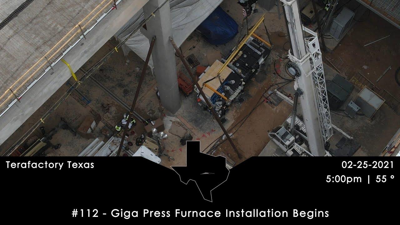 Tesla Terafactory Texas Update #112: Giga Press Furnace Installation Begins - 02/25/21 5:00pm   55°F