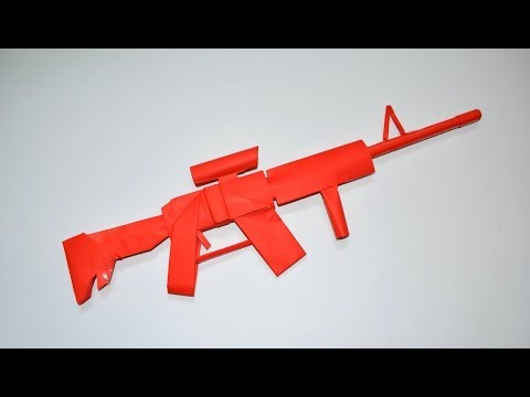 How to make a paper gun - rifle M 4 - DIY - paper toy - origami