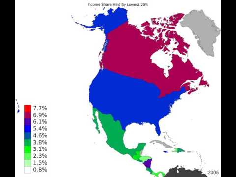 North America - Income Share Held By Lowest 20% - Time Lapse