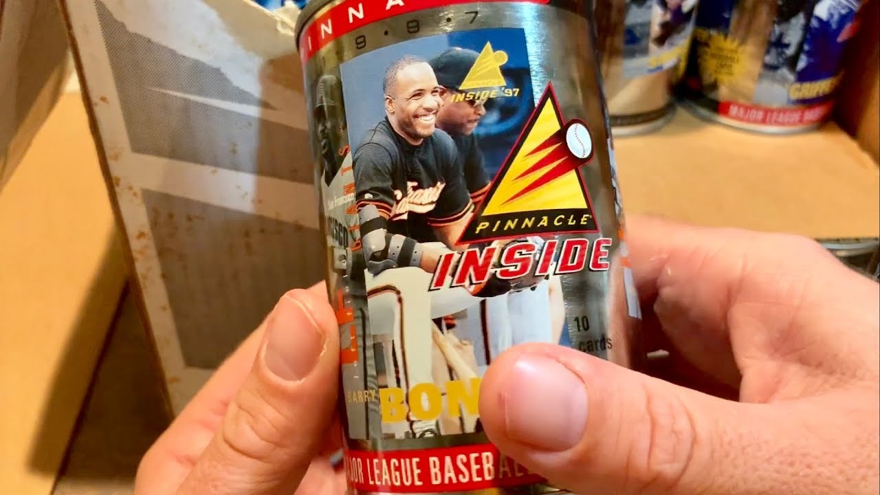 Opening Up A Weird Case Of Cans With Baseball Cards Inside 1997 Pinnacle Inside Case Break