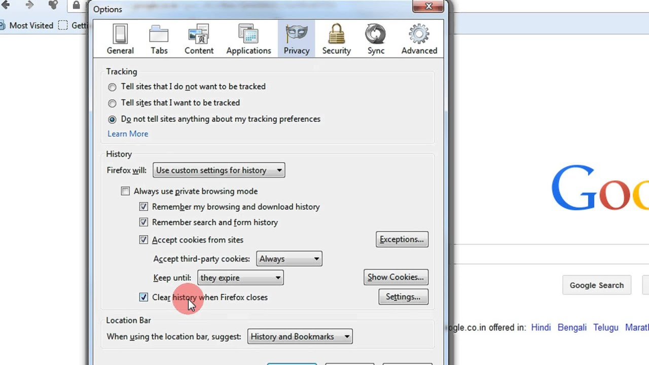 how to delete historyon firefox