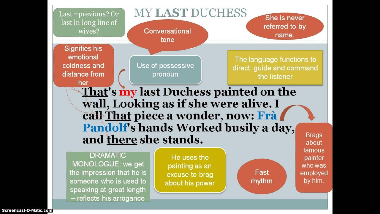 "my last duchess language analysis Support their analysis 2 ""my last duchess,"" lines 5–21 students  in this first lesson of the unit and module, the first english language arts."