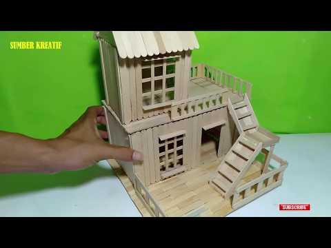 Cara Membuat Miniatur Rumah Pedesaan dari Stik Es Krim. #Tutorial #KerajinanTangan #MiniaturRumah..