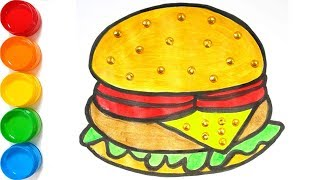 Hamburger coloring and drawing for kids, toddlers Learn Colors for kids