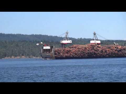 Tugboat Towing Huge Log Barge