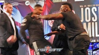 OH DAMN! BIG BABY MILLER PUSHES ANTHONY JOSHUA DURING FACE OFF AT MSG! JOSHUA DOES NOTHING!