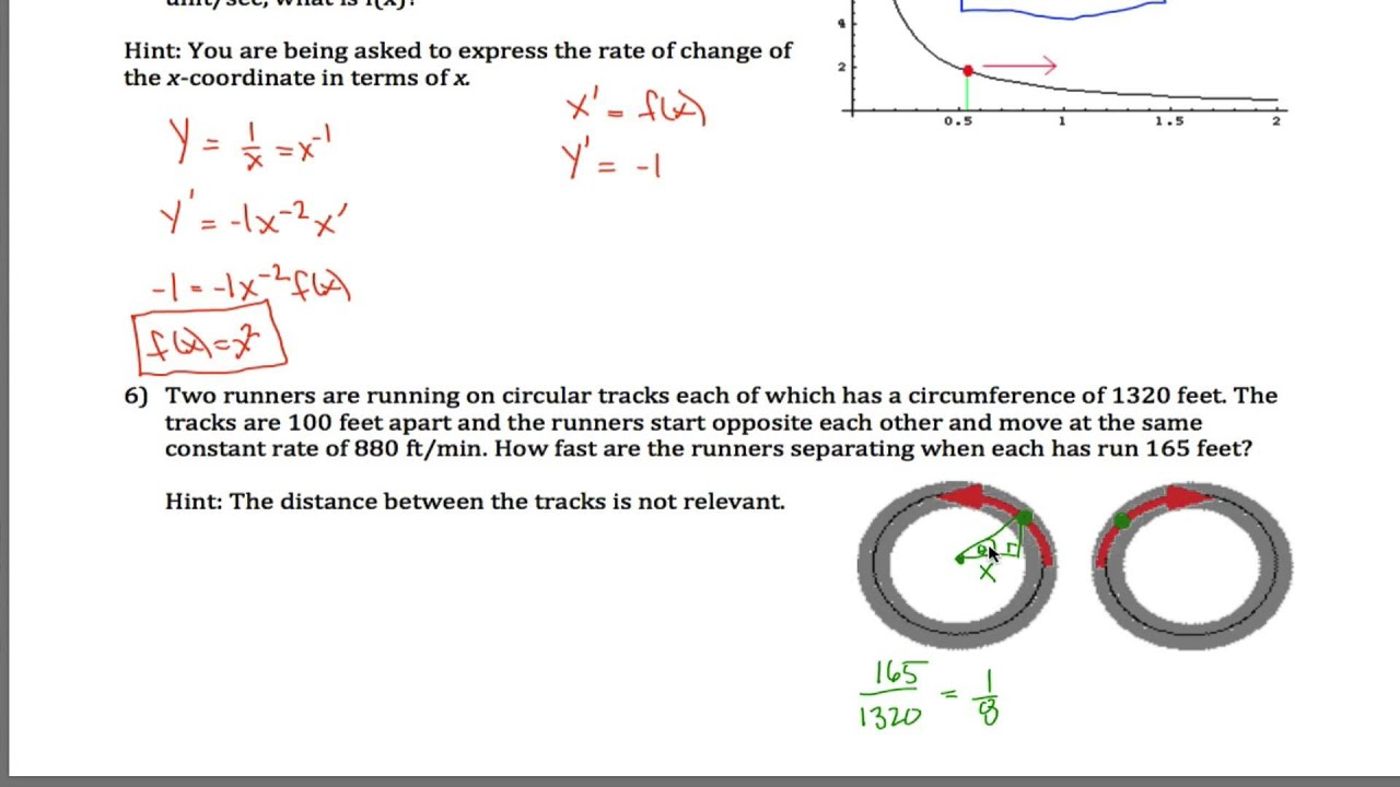 Related Rates Worksheet Part 2