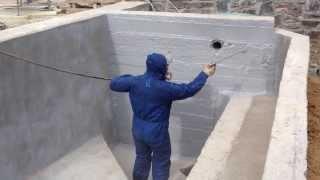 Гидроизоляция бетона Жидкой Резиной(сайт - http://okraska-profi.com.ua/ Гидроизоляция бетона жидкой резиной (нанесение первого слоя)