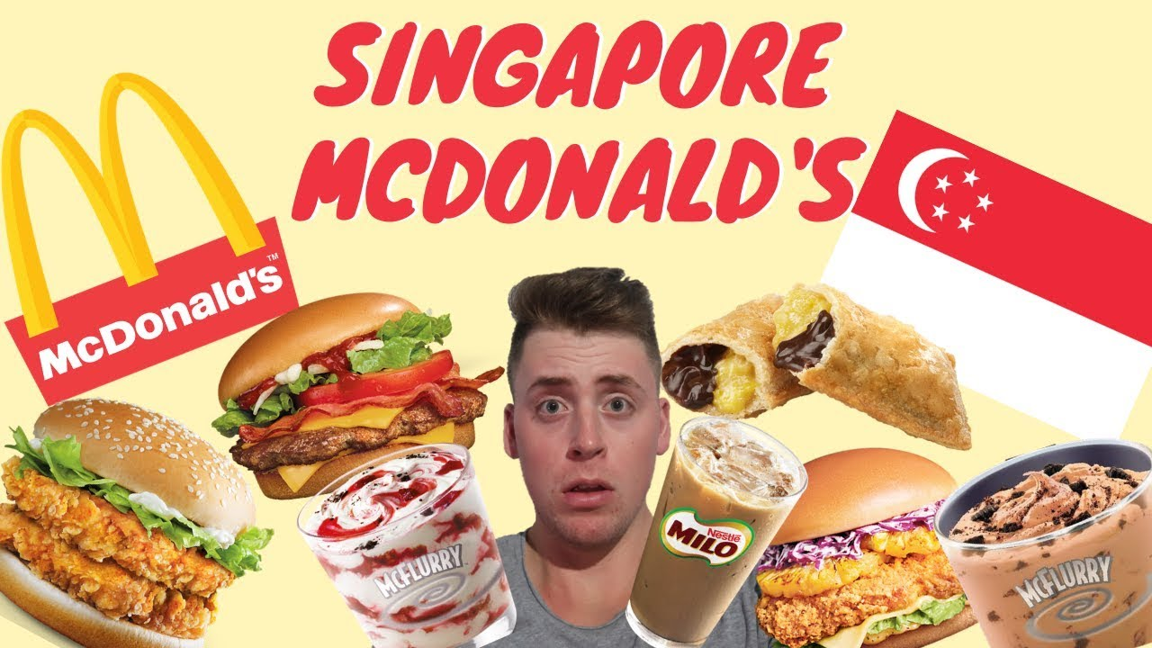 eating mcdonald's in singapore  giant mcspicy burger