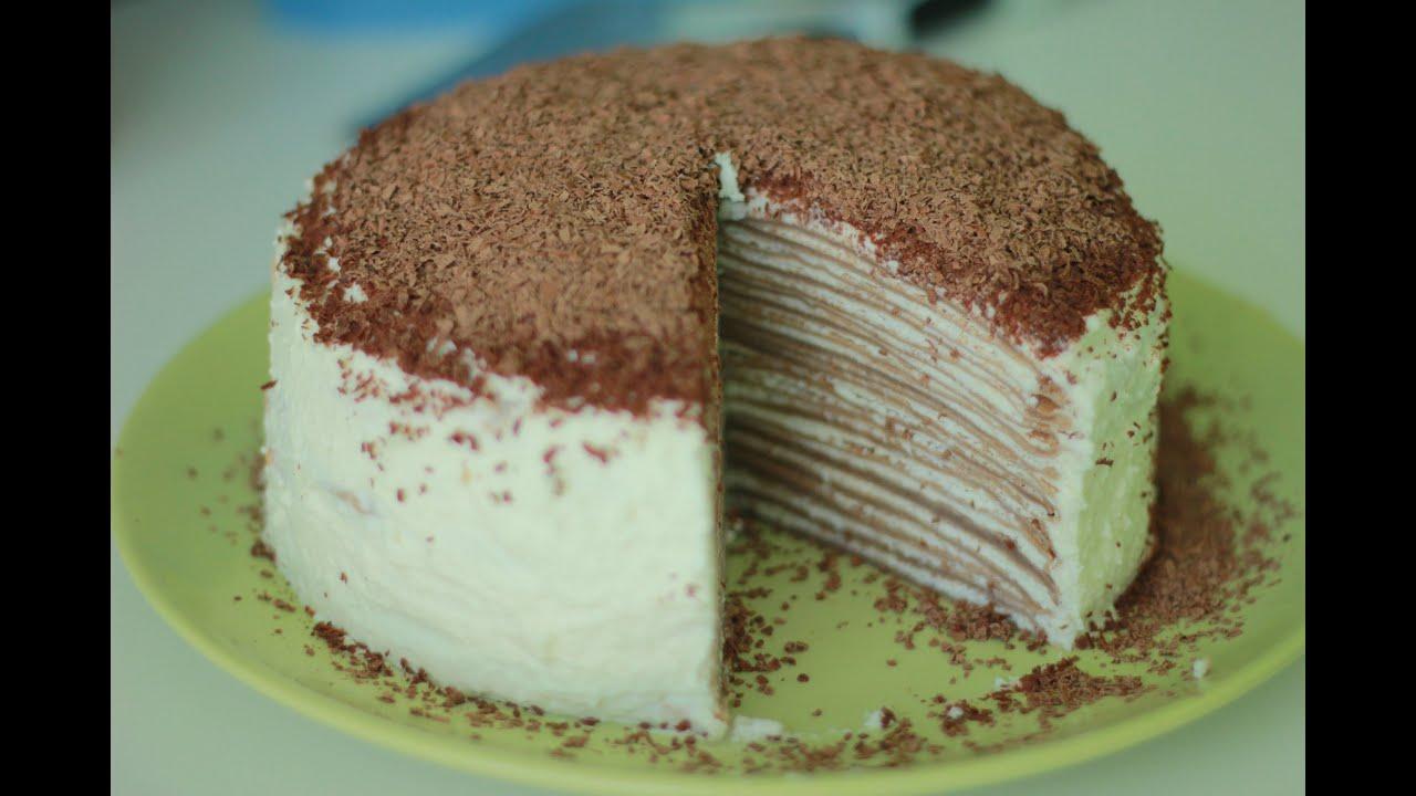 блинный торт с маскарпоне и клубникой рецепт