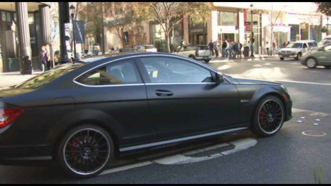 Matte black mercedes benz c63 amg coupe at santana row for Matte black mercedes benz
