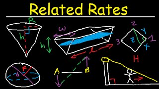 Related Rates - Conical Tank, Ladder Angle & Shadow Problem, Circle & Sphere - Calculus