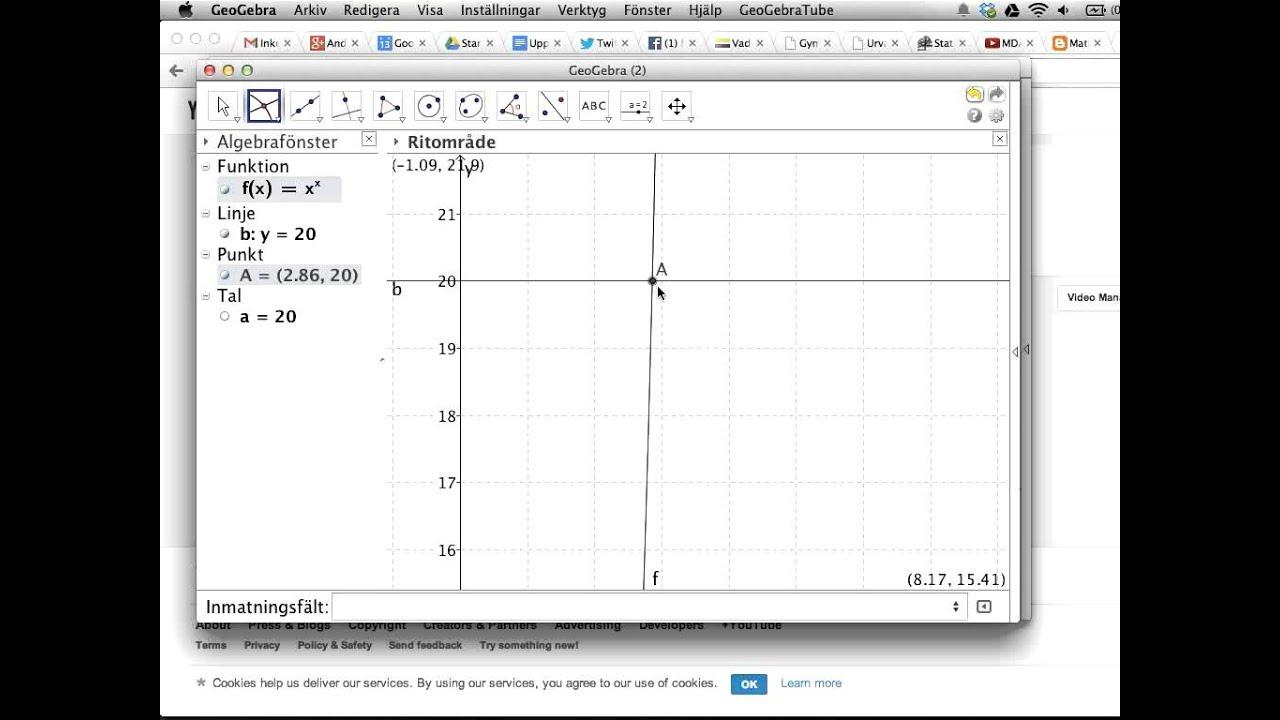 GeoGebra: hitta skärningspunkt mellan grafer