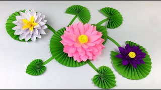 Paper Crafts For School | Paper Flowers Easy | Lotus Flower Making With Paper | Paper Lotus Making
