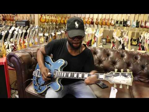 Erick Walls Playing Our Early 70's Gibson ES-355 Refinished In Pelham Blue