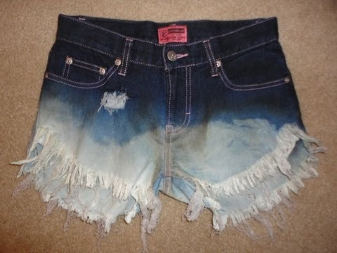 DIY Bleached Distressed Denim Shorts - YouTube