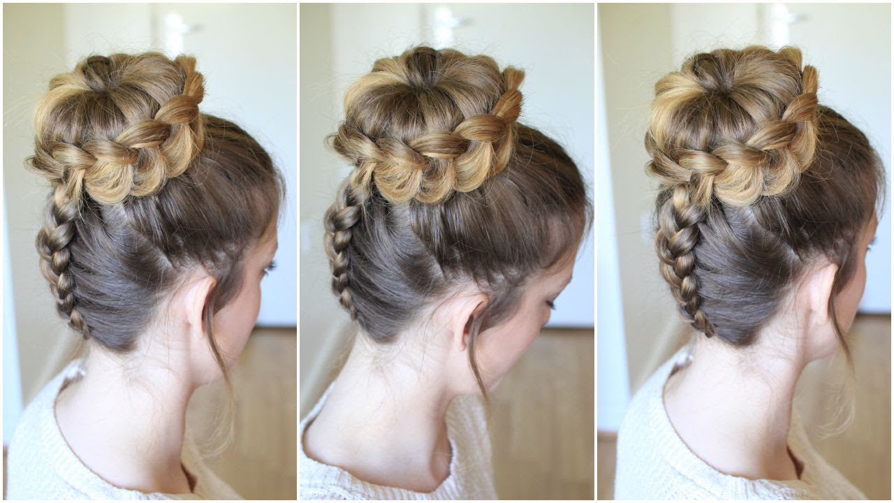 upside down braided lace bun | braidsandstyles12 - youtube