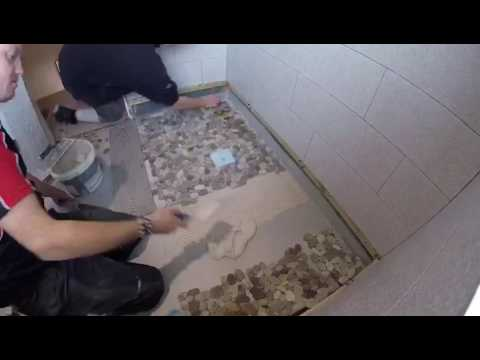 Mosaic Tiling On Wet Room Shower Tray Youtube
