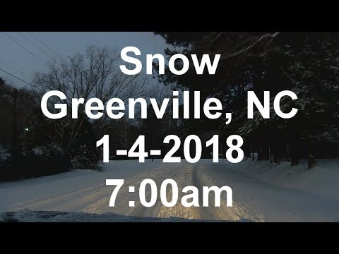 Driving on Snow - Greenville, NC 1-4-2018 at 7:00am