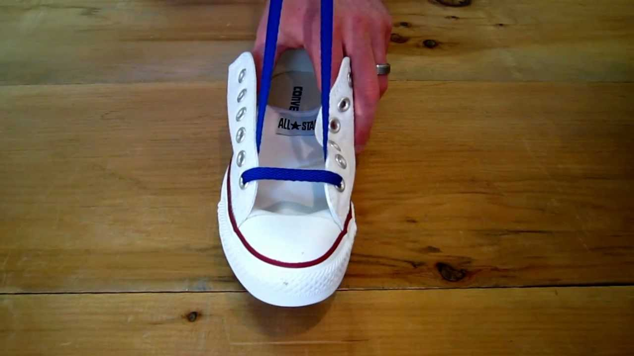 2cdff098dc67 How to Bar Lace Chuck Taylors - YouTube