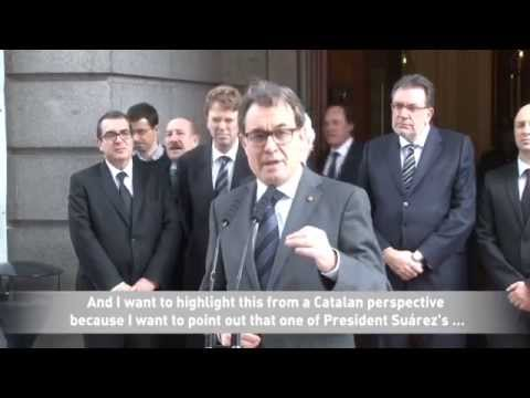 Catalan President: Suárez restored Catalonia's autonomy before the approval of the Constitution