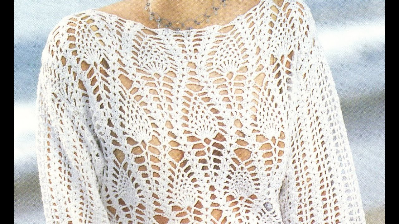 Suéter Calado puntada piñas a crochet - YouTube