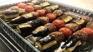 Fırında Şişte Köfteli Patlıcan Kebabı