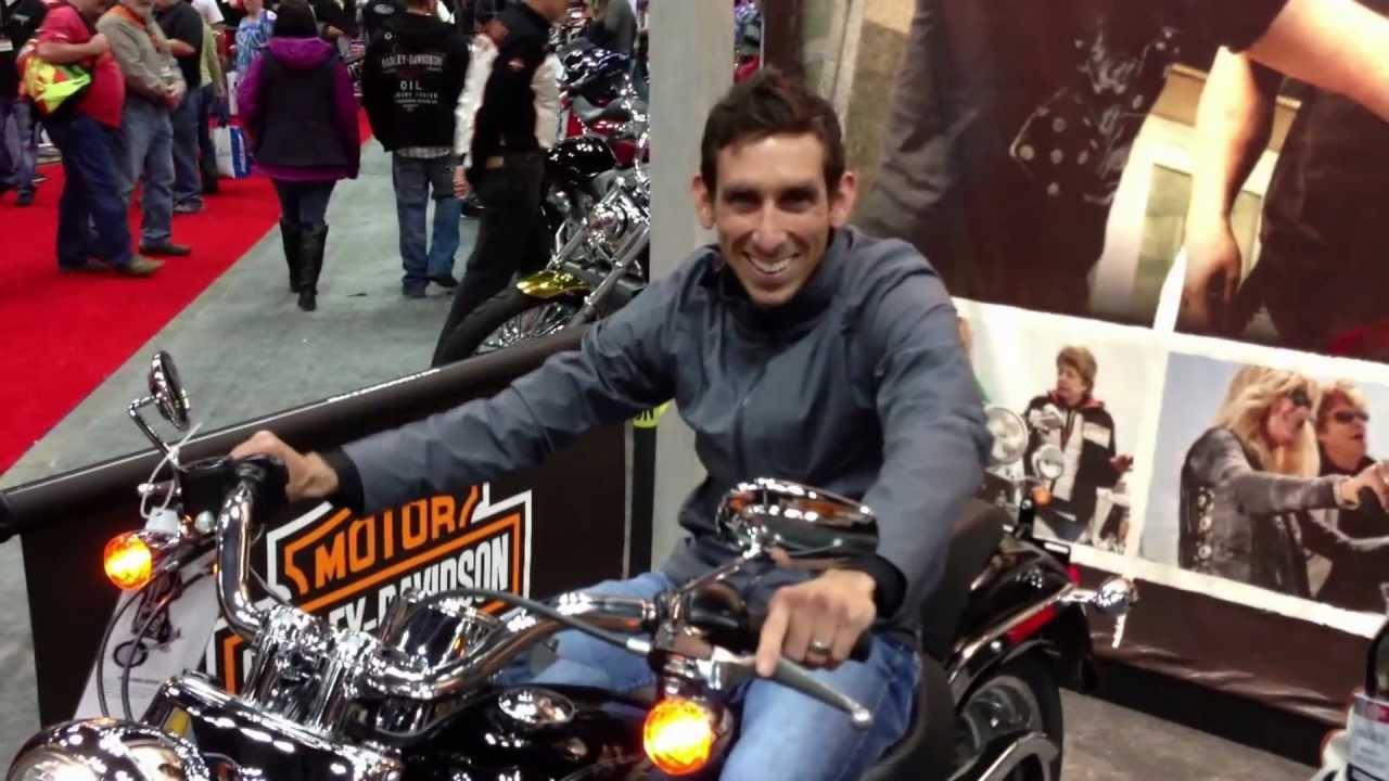 Chad Burdzilauskas learns to shift a Harley-Davidson Motorcycle