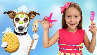 Sofia plays toy beauty salon with pets and dress up toys